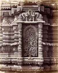 Close view of sculptural detail in a niche of the minaret, Muhafiz Khan's Mosque, Ahmadabad 1722